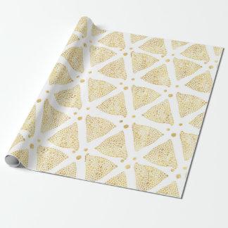 Papel De Presente Branco & teste padrão dos triângulos da textura do