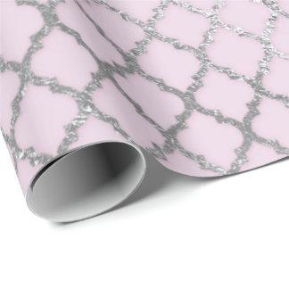 Papel De Presente Brilhante líquido de prata cinzento cor-de-rosa de