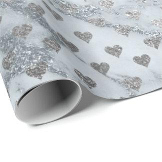 Papel De Presente Confetes dos corações da pedra do mármore da prata
