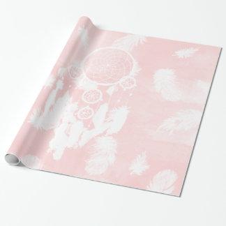 Papel De Presente Cora a ilustração cor-de-rosa do dreamcatcher da