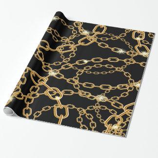 Papel De Presente Correntes do ouro na jóia luxuosa preta com bling
