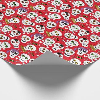 Papel De Presente Crânios bonitos do Dia das Bruxas no vermelho