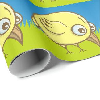 Papel De Presente Desenhos animados amarelos do pássaro