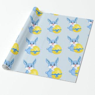 Papel De Presente Desenhos animados azuis do coelhinho da Páscoa