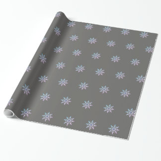 Papel De Presente Design cinzento e roxo do floco de neve