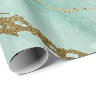 Papel De Presente Do mármore verde do ouro do Aqua de Tiffany da