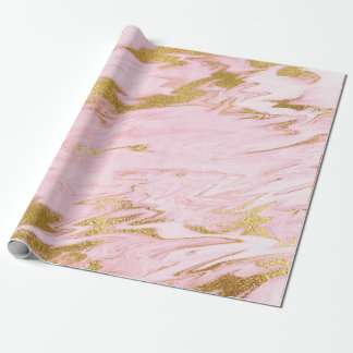 Papel De Presente Escovas brilhantes de mármore Pastel cor-de-rosa