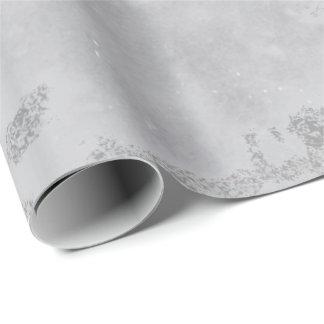 Papel De Presente Escovas de mármore cinzentas brancas de prata da
