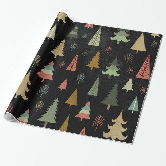 Papel De Presente Feriado do Natal - árvores no preto