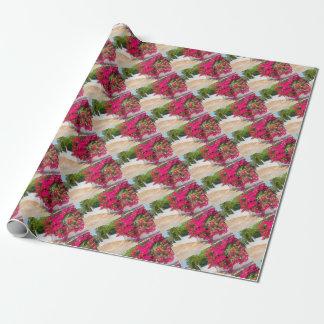 Papel De Presente Flores vermelhas de bougainville que florescem em