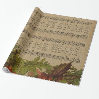 Papel De Presente Folha de música da canção de natal do natal