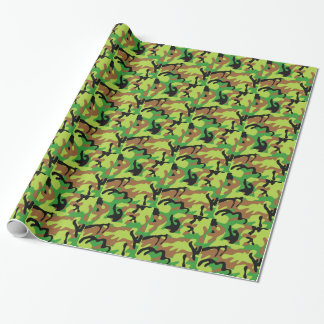 Papel De Presente Forrest louco Camo verde
