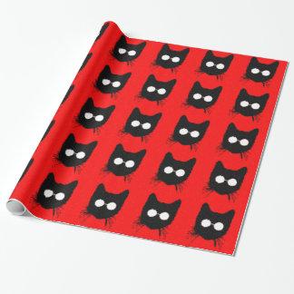 Papel De Presente Gato distorcido do hipster com vidros - vermelho &