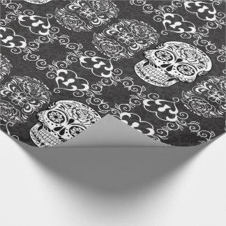 Papel De Presente Grunge gótico branco do preto decorativo do crânio