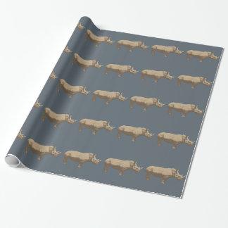 Papel De Presente Hippopotamus cortado no fundo azul
