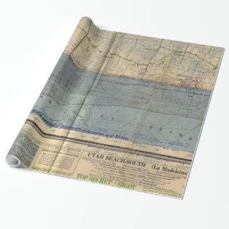 Papel De Presente Invasão Mapa do dia D da praia de Utá do vintage