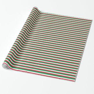 Papel De Presente Italia, verde da samambaia, branco, listra
