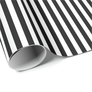 Papel De Presente Listras horizontais largas preto e branco na moda