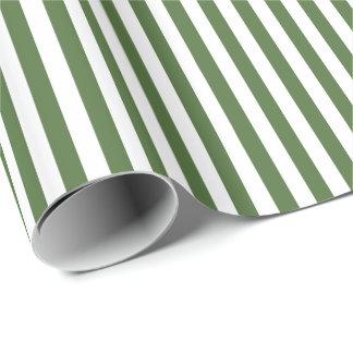 Papel De Presente Listras horizontais largas verdes e brancas na