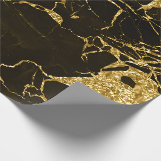 Papel De Presente Mármore preto metálico abstrato derretido do ouro