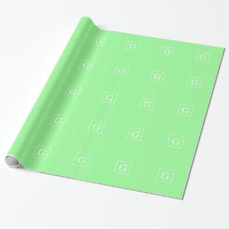 Papel De Presente Monograma inicial quadro da hortelã branco verde