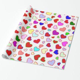 Papel De Presente Multi colorido dos corações no papel de