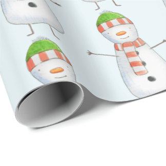 Papel De Presente Natal bonito do teste padrão do boneco de neve