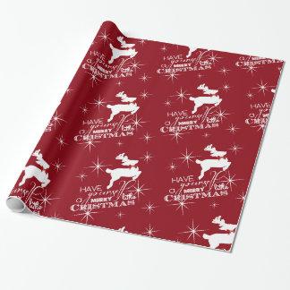 Papel De Presente Natal mágico da rena do vôo (vermelho)