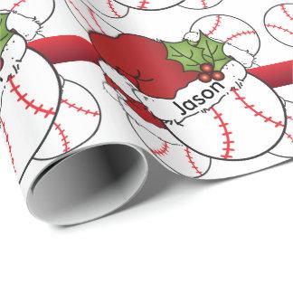 Papel De Presente Nome do basebol | DIY do Natal do chapéu do papai