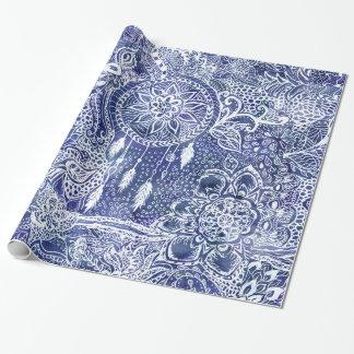 Papel De Presente O dreamcatcher azul empluma-se a ilustração floral