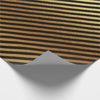 Papel De Presente O ouro preto listra linhas Lux mínimo metálico
