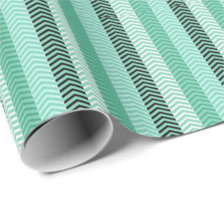Papel De Presente O verde na moda Chevron da hortelã listra o teste