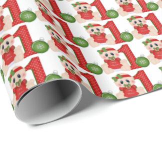 Papel De Presente Papel de envolvimento do Natal dos bebés primeiro