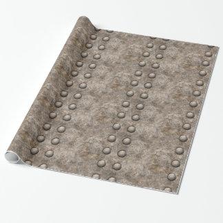 Papel De Presente Papel de envolvimento rebitado da textura do metal