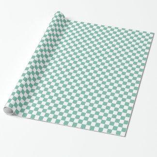 Papel De Presente Quadrados Checkered brancos da hortelã