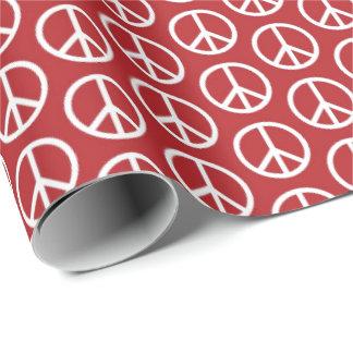 Papel De Presente Sinais de paz no vermelho do feriado