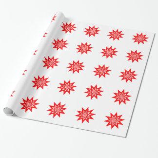 Papel De Presente Starburst vermelho no papel de envolvimento branco