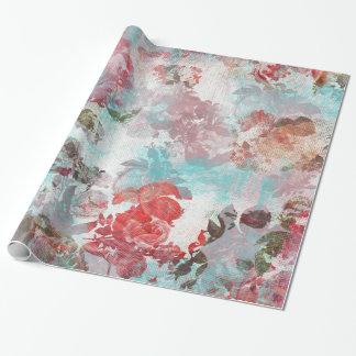 Papel De Presente Teste padrão floral cor-de-rosa chique romântico