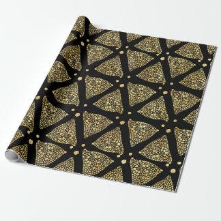 Papel De Presente Teste padrão preto dos triângulos da textura do