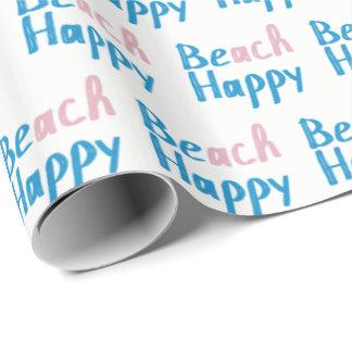 Papel De Presente Texto feliz da praia