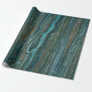 Papel De Presente Textura de mármore azul esverdeado & de Brown