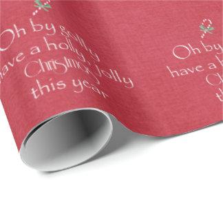 Papel De Presente Tipografia alegre do Natal do azevinho