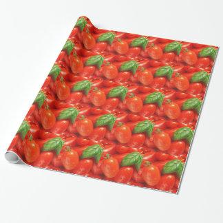 Papel De Presente Tomates maduros vermelhos com manjericão