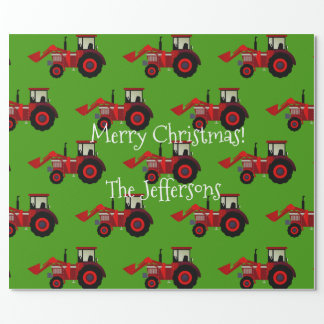 Papel De Presente Tratores de fazenda vermelhos no Natal verde