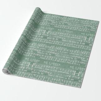 Papel De Presente Verde medieval da cerceta do manuscrito da música
