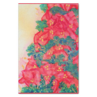 Papel De Seda Árvore de Natal da aguarela com poinsétias