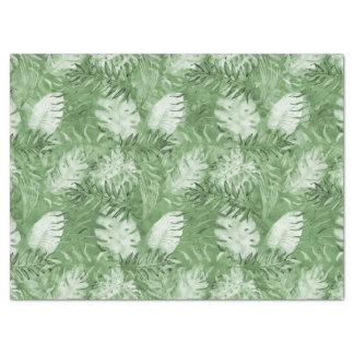 Papel De Seda Folhas tropicais do verde da aguarela
