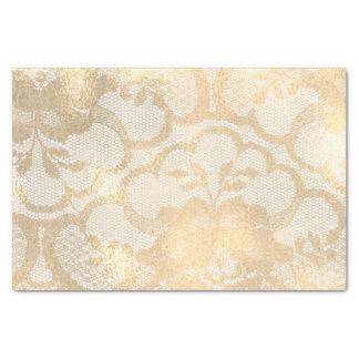 Papel De Seda Lux Glam feminino floral do ouro do falso do Sepia