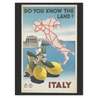 Papel De Seda Mapa de Italia das viagens vintage com limões