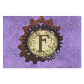 Papel De Seda O Grunge Steampunk alinha a letra F do monograma